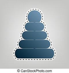 Pyramid sign illustration. Vector. Blue icon with outline for cutting out at gray background.