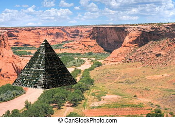 Pyramid spaceship flying into the Canyon de Chelly