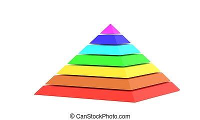 Pyramid square chart rainbow color 3d illustration
