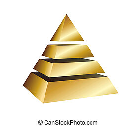 pyramid - illustration of a golden pyramid on white...