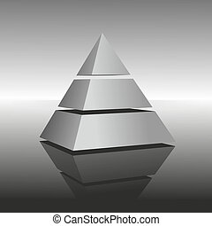pyramid - illustration of a pyramid on mirroring surface