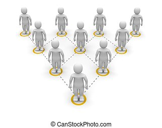 Pyramid team hierarchy. 3d rendered illustration.