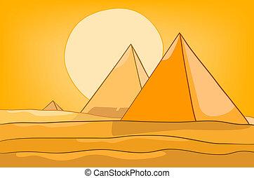 pyramid, tecknad film, landskap, natur