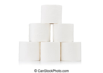 Pyramid toilet paper. roll. on white background
