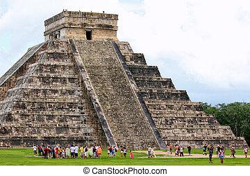 Pyramid - Tourists at Mayan pyramid in Mexico