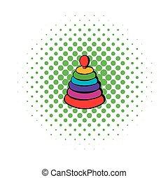 Pyramid toy icon, comics style