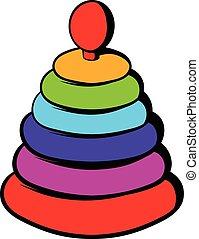Pyramid toy icon, icon cartoon