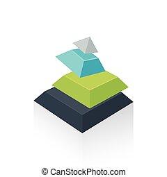 pyramid transform green blue gray color