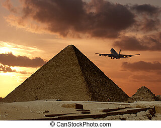 Pyramid travel - Pyramid of Cheops near Cairo with a...