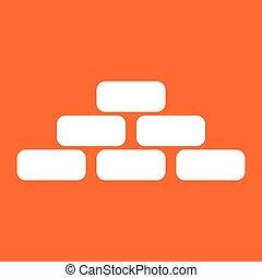 Pyramid white color icon .