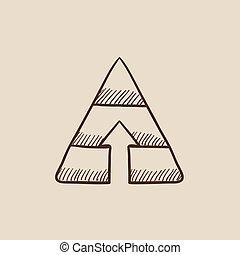 Pyramid with arrow up sketch icon.