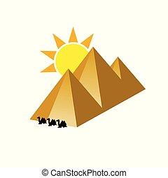 pyramid with camel illustration