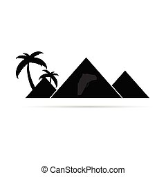 pyramid with camel travel illustration in black
