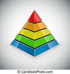 Pyramid with color segments vector design element.