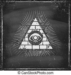 Pyramid with eye on chaldboard