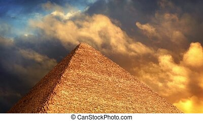 Pyramid With Golden Clouds Passing - Clouds pass over...