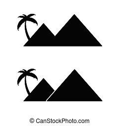 pyramid with palm cartoon vector