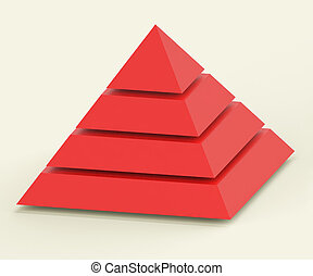 Pyramid With Segments Showing Hierarchy Or Progress -...