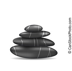 Pyramid zen spa stones, isolated on white background -...