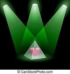 Pyramidal love - Illustration of pyramid of love on a black...