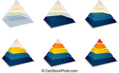 Pyramidal progress or loading bar indicator vector...