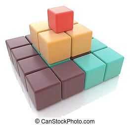 pyramide, 3d, bunte, würfel