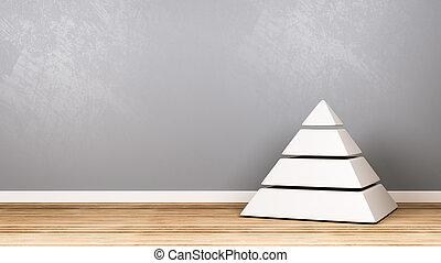 pyramide, boden, hölzern, gegen, vier, wand, niveaus, weißes