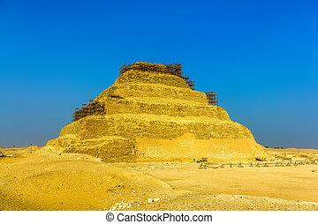 pyramide, egypte, -, djoser, étape, saqqara