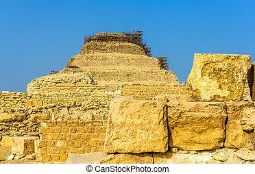 pyramide, egypte, -, djoser, étape, saqqara, vue