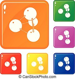 pyramide, ensemble, icônes, couleur, molécule, vecteur