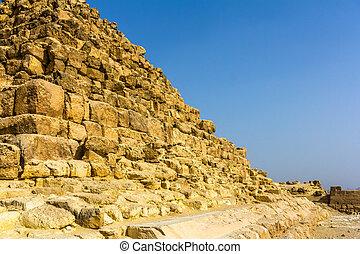 pyramide, (g1-c), egypte, -, henutsen, giza, détails
