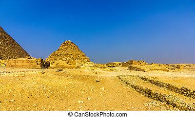 pyramide, (g1-c), egypte, -, henutsen, giza, vue