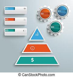 pyramide, gekleurde, stukken, 3, infographic, toestellen, banieren