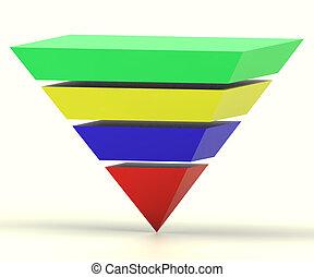 pyramide, hiérarchie, segments, inversé, progrès, ou,...