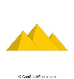 Pyramide icon, flat style