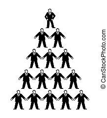 pyramide, isolé, illustration, vecteur, arrière-plan noir, businessmen., blanc