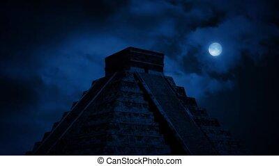 pyramide, jungle, aztèque, nuit