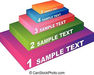 pyramide, kunst, bunte, element, fünf, schritte, design