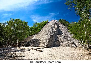 pyramide, mexique, nohoch, maya, mul, coba
