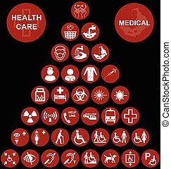 pyramide, monde médical, isolé, collection, santé, apparenté, fond, noir, soin, rouges, icône