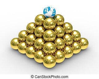 pyramide, sphères, image, arrière-plan., blanc, 3d