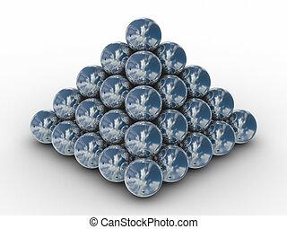 pyramide, sphères, image, métal, arrière-plan., blanc, 3d