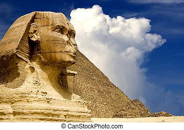 pyramide, sphinx, égyptien