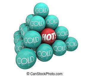 pyramide, température, vs, chaleur, illustration, chaud, balles, froid, frais, 3d