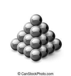 pyramide, von, magnetisch, kugeln