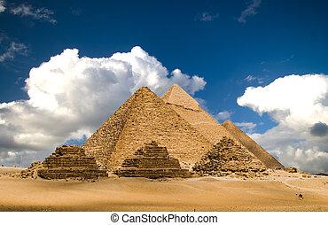 pyramider, och, skyn