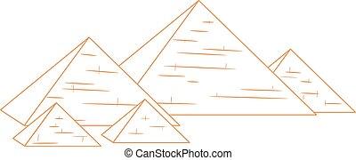 pyramider, repeterat, isolerat