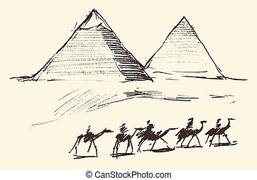 Pyramids Cairo Egypt with Caravan Camels Vintage