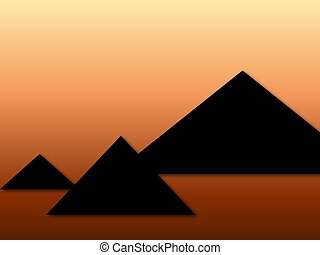 Pyramids of Egypt in the sunset