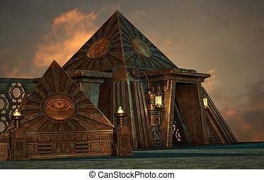 Pyramids - an illustration of two pyramids in steampunk...